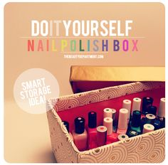 DIY Nail Polish Storage Box. I like the idea of painting dots of the color of polish on the top.