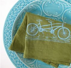 Tandem Bike Tea Towel by Sweetnature Designs