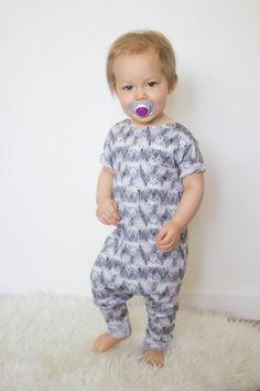 Harem style romper, Print Romper, Harem Jumper,Modern Baby, Unisex Clothes