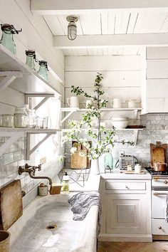 The light here-French Farmhouse Kitchen with a century rustic marble sink Farm Kitchen Ideas, Country Kitchen, Cocinas Kitchen, Home Kitchens, French Cottage Kitchens, French Kitchen Decor, French Farmhouse Decor, Farmhouse Style, Küchen Design