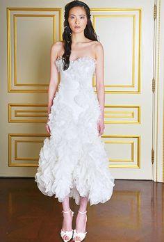 #Marchesa - Fall 2015 Strapless tea-length organza ruffle wedding dress with a sweetheart neckline, MarchesaPhoto: Courtesy of Marchesa