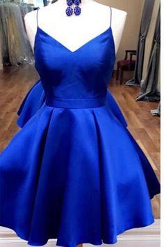 Open Back Spaghetti Straps Royal Blue Short Prom Homecoming Dresses Party Dress LD396