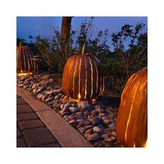 Halloween House Decoration Desert Steel Orange Tall Pumpkin Luminary for Yard Pumpkin Deserts, Metal Pumpkins, Halloween House, Halloween Fun, Pumpkin Centerpieces, Fall Wreaths, Porch Decorating, Outdoor Lighting, Outdoor Decor