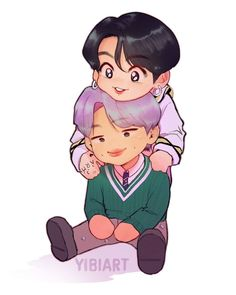 "@yibiart shared a photo on Instagram: ""Commission for @amaya_osssborne 💜💜 Namkook babies! . . #namjoon #rm #jungkook #bts #btsfanart #illustration #art #chibi #digitalart #namkook"" • Jun 16, 2020 at 7:58pm UTC"