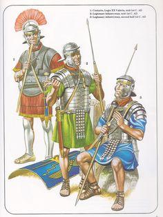 Legionari e centurione romani, I sec. d.C.