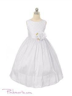 White Poly Silk Diamond Cross Pattern Girl Dress
