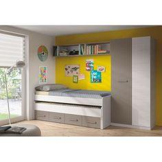 Dormitorio juvenil completo Ares  Te ofrecemos el conjunto completo.   Cama doble, armario y estantería. Conjunto moderno y versátil. Tu habitación completa en un trís trás!    Sayez