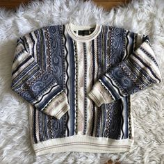 Unique vintage chunky sweater Thrifted, retro, and one-of-a-kind knit pattern Size L Very thick and cozy material - Depop Retro Outfits, Vintage Outfits, Cool Outfits, Fashion Outfits, Ugly Sweater, Chunky Sweaters, Women's Sweaters, Black Men Street Fashion, 80s And 90s Fashion