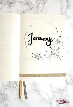 Januar Titelseite - January Bullet Journal Cover Page - Set Up
