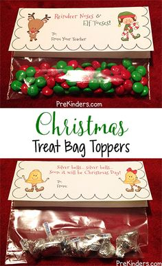 "Here are some Christmas Treat Bag Toppers for your students! I have included 3 different bag toppers and each one has two versions: one that says ""From Your Teacher"" and another with just ""From"" (so Christmas Treats For Gifts, Christmas Treat Bags, Christmas Favors, Homemade Christmas Gifts, Christmas Goodies, Christmas Printables, Holiday Crafts, Christmas Holidays, Christmas Classroom Treats"
