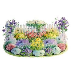 Drought tolerant perennial border. Perennials: A, Artemesia [Powis Castle type]; B, Geranium (Cranesbill) [Rozanne type]; C, Sedum; D, Salvia; E, Daylily (Hemerocallis) [Happy Returns is a nice light yellow reblooming one]; F, Coreopsis [Moonbeam type]; G, Russian Sage (Perovskia), H, Feather Reed Grass (Calamagrostis x acutiflora); I, Rose Knock Out [I prefer Double Knock Out]; J, Clematis (Jackmanii type); and K, Clematis [Sweet Autumn--but it's invasive, so I'd choose another].