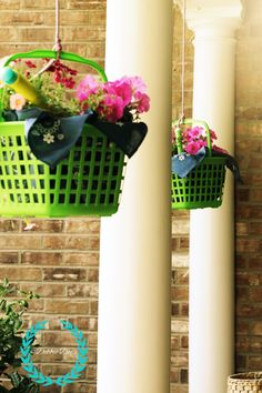 Hanging porch baskets from dollar tree diy. Add a little color and whimsy to your porch or trees this summer