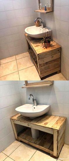 Bathroom Vanity Plans Pdf Best Of 8 Best Diy Pallet Vanity On the Low Images Diy Pallet Vanity, Pallet Bathroom, Diy Bathroom Vanity, Diy Vanity, Bathroom Remodeling, Simple Furniture, Diy Furniture, Pallet Floors, Pallet Furniture Plans