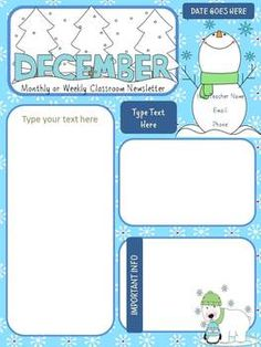 December Monthly Newsletter Template  Customizable
