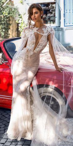 elihav sasson 2018 capsule bridal sleeveless deep v neck heavily embellished bodice side open sexy elegant sheath wedding dress open v back chapel train (4) mv -- Elihav Sasson 2018 Royalty Girl Capsule Collection