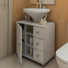 Mudando a cara do banheiro Sink Shelf, Bathroom Storage Shelves, Pedestal Sink Storage, Space Saving Bathroom, Toilet Sink, Home And Deco, Bathroom Styling, Bathroom Renovations, Decoration