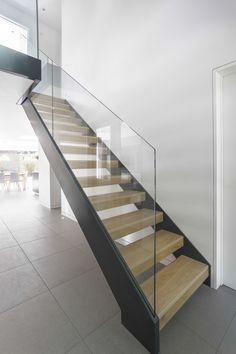 17 best images about modern stairs balusters and newels Steel Stairs, Wood Stairs, House Stairs, Stairs Balusters, Balustrades, Railings, Bannister, Glass Stairs, Floating Stairs