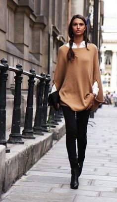 CAMEL CAPE TAN PONCHO WHITE BUTTON UP COLLARED SHIRT SKINNY BLACK JEANS BLACK ANKLE BOOTS BOOTIES BLACK FOLDED ...