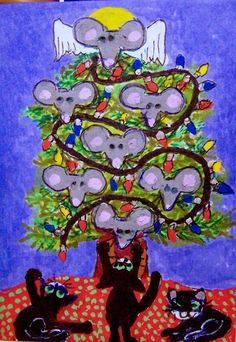 ACEO ChrisMouse Tree mice Christmas cats holiday Original whimsical Cat-toon #Miniature   #aceo #art #eBay #christmas #tree #cats #mice