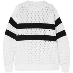 Sonia Rykiel Striped open-knit sweater (4.160 RON) ❤ liked on Polyvore featuring tops, sweaters, ribbed knit sweater, open knit sweater, white open knit sweater, ribbed sweater and white slip