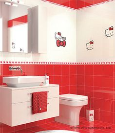 e45d5c19e Hello Kitty Classic Collection, Expression Red and CuCu Red (Bathroom)  Bathroom Red,