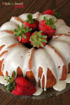 Vanilla Bean Bundt Cake with Vanilla Glaze and Strawberries - adapted from Bon Appetit _ Garnish with Strawberries in center & along sides of cake!
