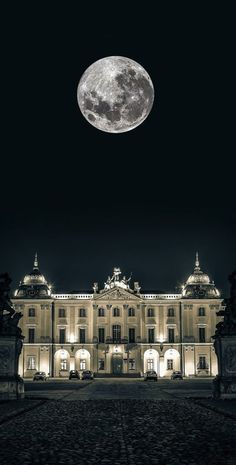 Full moon over the Branicki Palace, Bialystok, Poland