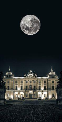 Full moon over the Branicki Palace, Bialystok, Poland