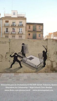 Educación para la Ciudadania © ESCHIF (Artist. Valencia, Spain) via flickr.  Education for Citizenship / High School Civic Studies.    Street Art against Censorship. Protest against the Spanish government's deleting this course from school curriculum due to controversial(?) real world content such as homosexuality, human rights, personal relationships.     http://www1.aerosolplanet.com/site4/index.php/k2/user-page/item/1770-Escif-Education-for-Citizenship-Valencia