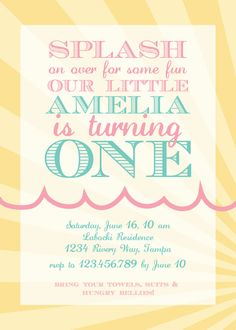Pool Splash Party  DIY PRINTABLE Invitation by simplypchee on Etsy, $8.00