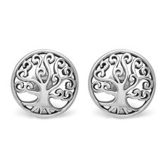 925 Sterling Silver 12 mm Filigree Design Ancient Tree of Life Symbol Round Post Stud Earrings * Quickly view this special jewelry, click the image : Jewelry