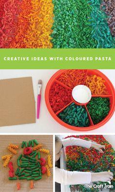 Creative ideas with coloured pasta