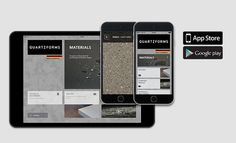 Quartzforms app | You can sort the complete catalog by color or by family and every material can be displayed in full screen mode with a simulation of dynamic reflection according to the inclination of the device.