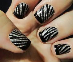Glam Fiend: Nail Fraud Zebra Glitter Strips. Could be done with black and glitter nail polishes.