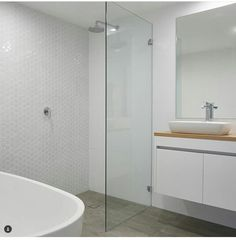 Often the design of a bathroom is the biggest value that we deliver to our clients, offering them pe - integriti_projects Diy Bathroom, Wooden Screen Door, Timber Vanity, Frameless Shower, Chrome Taps, Shower Screen, Timber Screens, Bathrooms Remodel, Bathroom Design