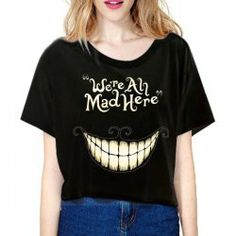 Stylish Scoop Neck Short Sleeve Smile Face Loose T-Shirt For Women
