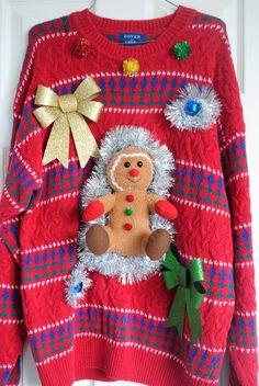 Ugly Christmas Sweater gingerbread and tacky garland Size XLarge mens or womens. $29.99, via Etsy.