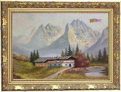 Osztrák tájkép a Tiroli Alpok csúcsaival, szignált Bali, Painting, Painting Art, Paintings, Painted Canvas, Drawings