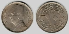 Copper-Nickel Coin 1933 AD 1352 AH Mint Mark H Egyptian Ten Milliemes Fouad King of Egypt