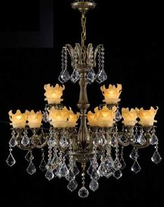 ❤ - By Regency Hand Polished Trim Antique Bronze & Lalique 12 Lights Chaindelier