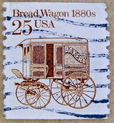 Lot of 25 used Bread Wagon 1880s US Postage Stamp, Coil, Scott #2136, c1986, good shape by VintageNEJunk on Etsy