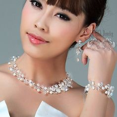 Bridal Jewelry Sets, Wedding Necklace Bracelet Earrings Jewellery Set, White Fresh Water Pearls Bridal Necklace Bridal Bracelet Jewelry