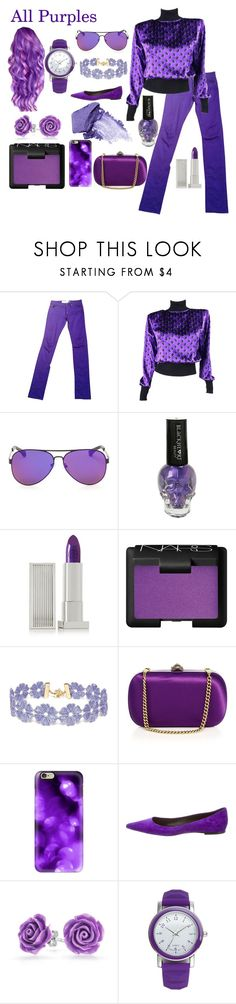 """""""All Purples"""" by sweetie-pie77 on Polyvore featuring April 77, Emanuel Ungaro, Lipstick Queen, NARS Cosmetics, BaubleBar, Gucci, Casetify, Roger Vivier, Bling Jewelry and A Classic Time Watch Co."""