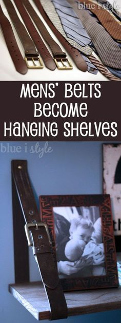 Mens' belts are upcycled and repurposed to create hanging shelves, perfect for a boys' room, teen hangout, or man cave! {blue i style} SO COOL! Mens' leather belts become hanging shelves with this simple tutorial! Repurposed Furniture, Diy Furniture, Furniture Projects, Automotive Furniture, Automotive Decor, Furniture Refinishing, Refurbished Furniture, Handmade Furniture, Furniture Design