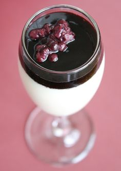 Coconut Panna Cotta with Berry and Red Wine Reduction