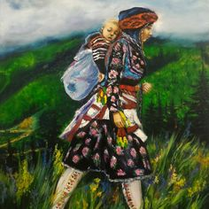 Traditional black sea woman, oil painting by Badegül Arslan
