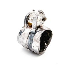 Sterling silver 'Black and White' ring, set with Herkimer Diamond