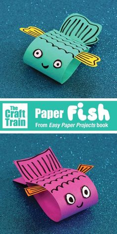 """Paper fish craft from the book: """"Easy Paper Projects"""" by Maggy Woodly. Adorable,… Paper fish craft from the book: """"Easy Paper Projects"""" by Maggy Woodly. Adorable,…,animals Paper fish craft from the book: """"Easy Paper. Quick And Easy Crafts, Paper Crafts For Kids, Easy Crafts For Kids, Preschool Crafts, Paper Crafting, Diy For Kids, Summer Kid Crafts, Fish Paper Craft, Rainy Day Crafts"""