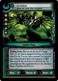 """""""•Scimitar, Built for Only One Purpose"""" [14 R 121] from the STAR TREK CUSTOMIZABLE CARD GAME 2nd Edition by DECIPHER 