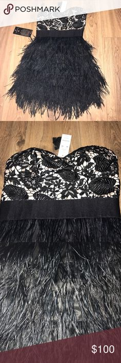 🖤✨NWT Bebe Feather Dress✨🖤 🖤✨NWT beautiful black Bebe Feather Dress with lace embroidery. Strapless, but comes with attachable straps. Perfect for any formal or semi-formal occasion! Never worn. Smoke and pet free home. ✨🖤 bebe Dresses Strapless